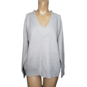 Frnch Paris gray V Neck Ribbed Knit Sweater size M